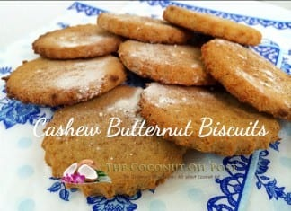 coconut oil post cashew butternut biscuits