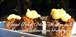 coconut oil post spiced sweet potato muffins with orange buttercream frosting 1