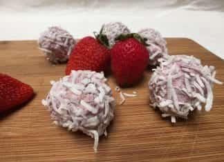 coconut oil post strawberry smoothie bliss balls 22